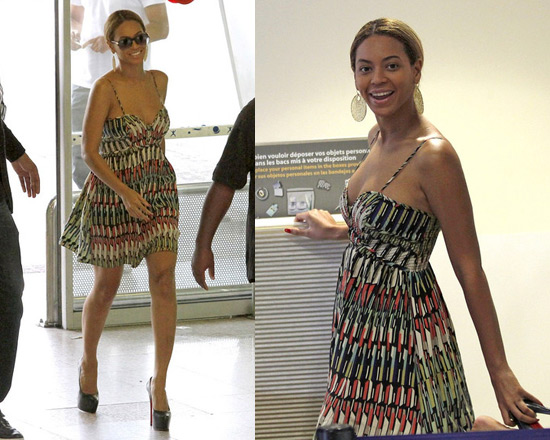 Beyonce wearing Parker dress at Nice airport