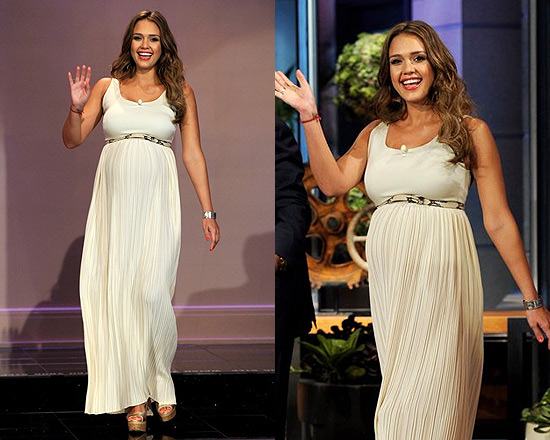 Jessica Alba On The Tonight Show Wearing Alice Olivia Ryan Belted Long Dress