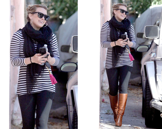 Love Quotes Scarf Mesmerizing Hilary Duff Wearing Love Quotes Scarf And Chanel Boots To Pilates