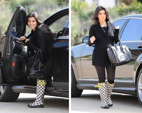 Kourtney Kardashian Mackenzie Childs Courtley Check Hunter Boots