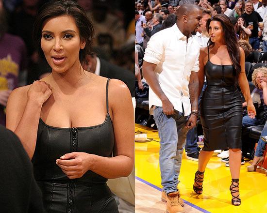Kim Kardashian Wearing Givenchy Stretch Nappa Leather Dress To Laker