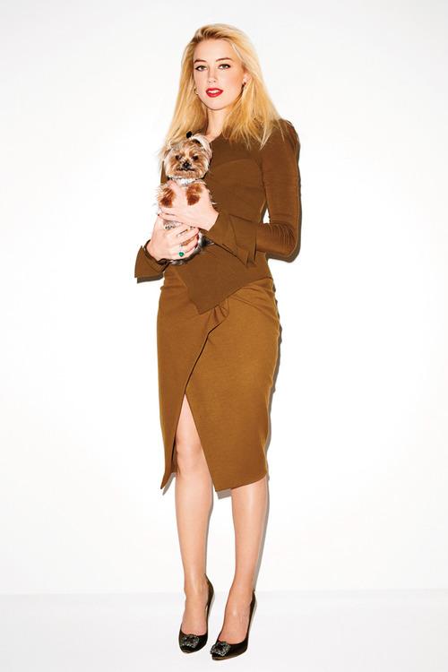 amber-heard-Donna Karan Brass Crepe Sculpted Bodice Angular Slit Dress