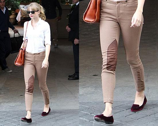 Taylor Swift steps out in Ralph Lauren Stretch Twill Jodhpur Pants ... cad72de813191