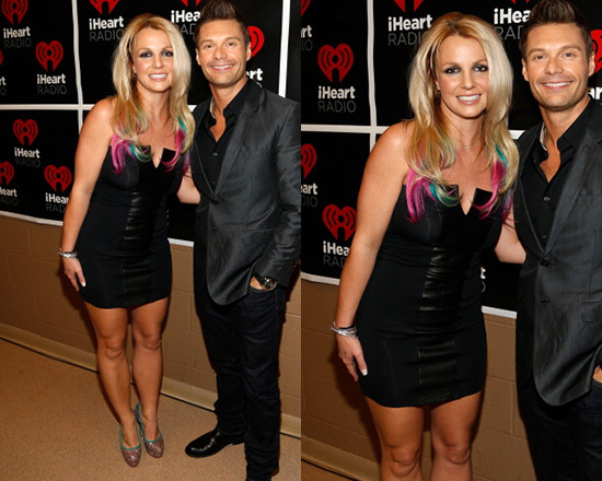 Britney Spears In David Lerner Strapless Leather Insert Dress