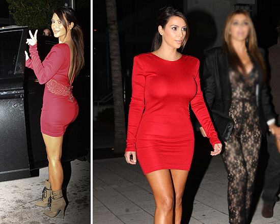 Kim Kardashian In Balmain Red Embroidered Bird Dress