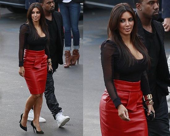 Kim Kardashian wears Balenciaga Calf Leather skirt ...