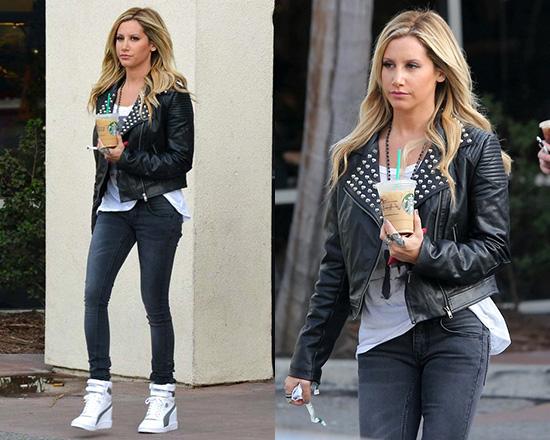 ef16e22d24ec Ashley Tisdale in Motel Rocks Tammy Faux Leather Studded Moto Jacket ...