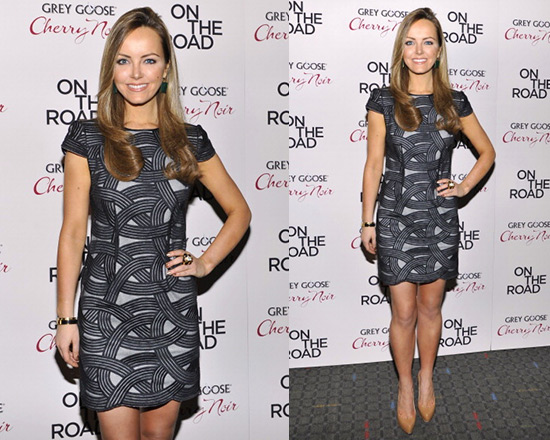 Nicole Lapin In Robert Rodriguez Cap Sleeve Swirl Mini Dress At The New York Premiere Of