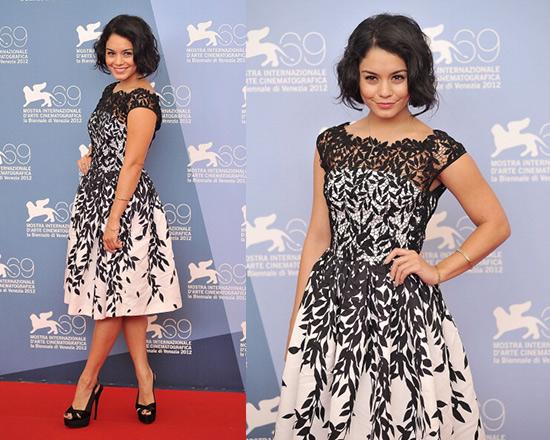Vanessa Hudgens in Blumarine Cotton Macramè & Silk Faille Dress ...