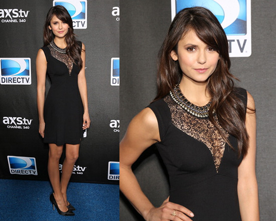 Nina Dobrev in French Connection Alicia Lace Front Dress ...