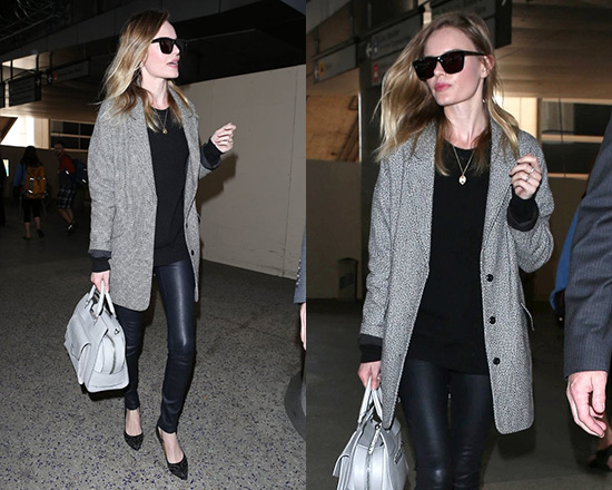 f047e8bef9 Kate Bosworth wearing Topshop Black And White Boyfriend Coat and Isabel  Marant Stanley Pumps