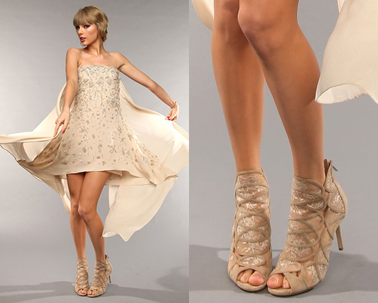 Taylor Swift In Elie Saab Dress And Jimmy Choo Fauna Lace Suede Cage Sandals