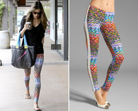 01ca11175df69 Alessandra Ambrosio wearing a pair of colorful T-Bags Leggings with a Electric  Yoga Bolt