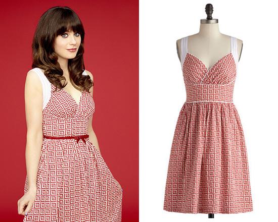 3716086ca1fb Zooey Deschanel wearing ModCloth Paradise Tile Dress in  New Girl ...