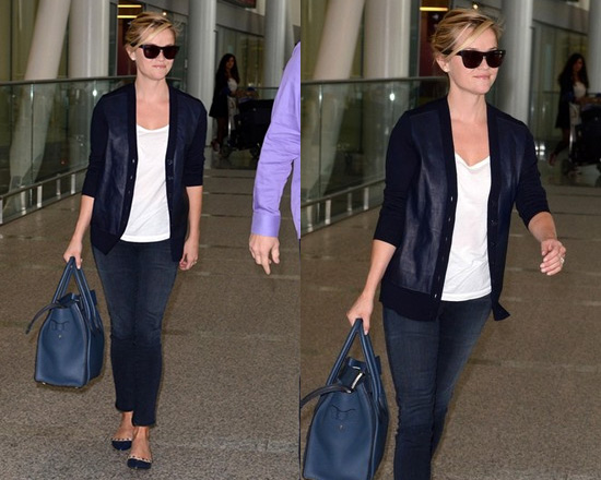 d705260d67e43 Reese Witherspoon goes Navy in J.Crew Merino Cardigan and Valentino  Rockstud Ballet Flats