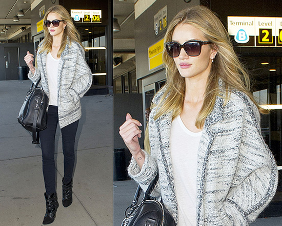 Rosie Huntington-Whiteley steps out in Isabel Marant Loline Jacket and J  Brand Sateen Skinny Jeans e1ea27bfd5bf3