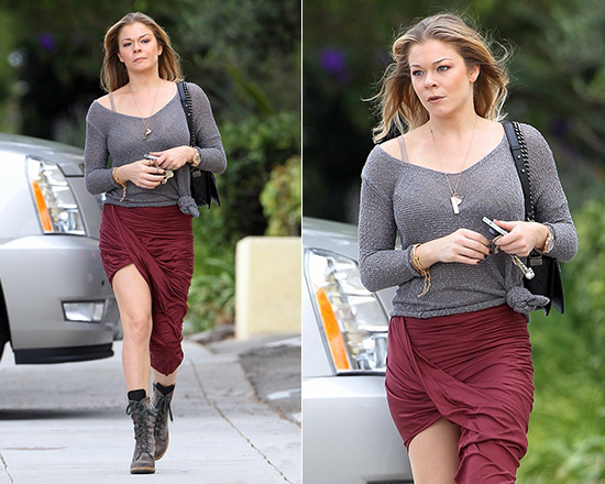 4bbbeda8d2 LeAnn Rimes goes shopping in Helmut Lang Jersey Wrap Skirt ...