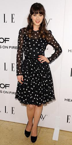 Zooey Deschanel in Dolce & Gabbana Silk Polka Dot Dress