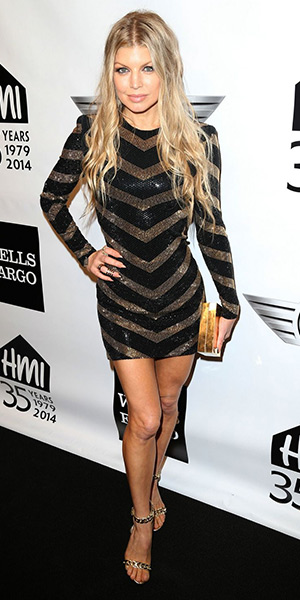 904b400051f Fergie Razor Black Gold High Heels – CelebrityFashionista.com