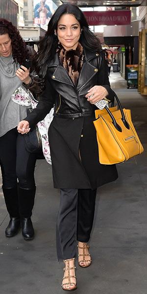 322e6bb5a97 Vanessa Hudgens wearing Valentino  Rockstud  T-Strap Sandals to Good  Morning America