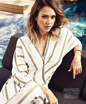 dd34386478bb Jessica Alba poses in a Maje Pandor Striped Jumpsuit for MORE magazine s  May 2015 issue