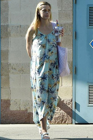b26295647b Jaime King wearing a Pink Stitch the Label tropical print Resort Maxi Dress  while out and