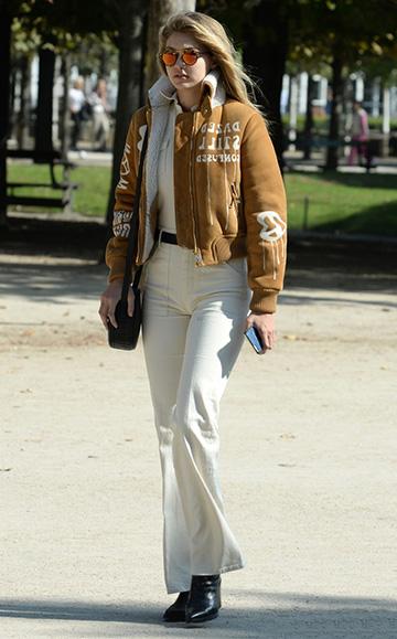 d15e1c6ac24 OFF-WHITE suede bomber jacket – CelebrityFashionista.com