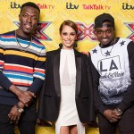 Cheryl Fernandez-Versini in a Halston Heritage Chiffon-paneled Cutout Crepe Gown at the x Factor UK Press Conference on December 10, 2015 in England.