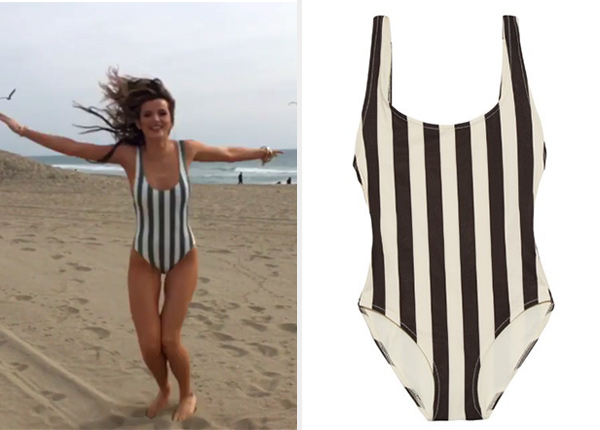 d98b9722d4 Bella Thorne s Solid   Striped The Anne Marie One Piece Swimsuit ...