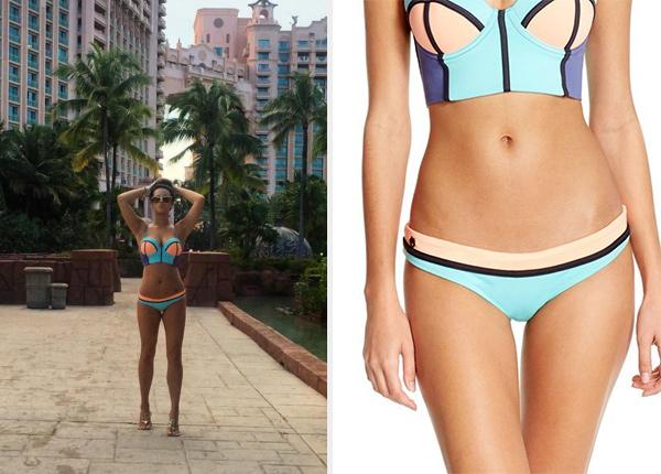Nicole Guerriero in Maaji Timbers Longline Turquoise Bikini Top and Reversible Bottom in Bahamas