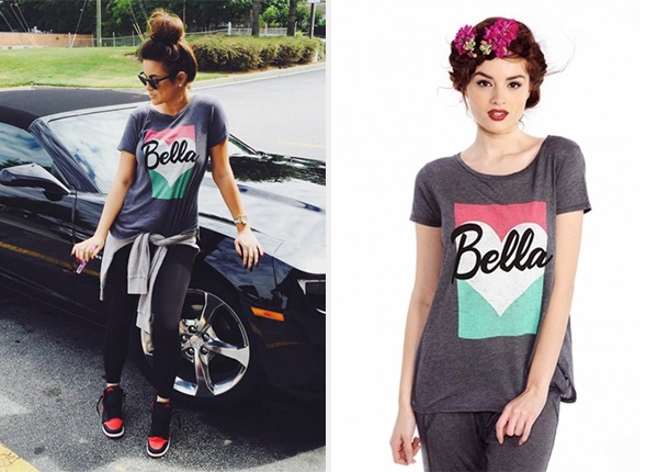 Wildfox Couture Bella Pop Travelers Dirty Black Tee as seen on Nicole Guerriero Instagram