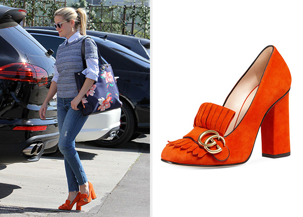 88c76ce4edd Gucci Marmont Fringe Suede Loafers as seen on Reese Witherspoon
