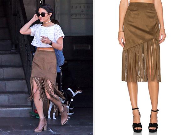 Tularosa Donna Fringe Skirt as seen on Vanessa Hudgens