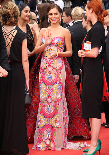 Naeem Khan Strapless Embroidered Illusion Gown As Seen On Cheryl At 2016 Cannes Film Festival