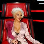Christina Xtina Aguilera wearing a House Of CB Fabienne Rose Gold Satin Duster Coat on The Voice