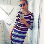 Missoni Metallic-Striped Crochet Maxi Dress as seen on Rosie Huntington-Whiteley Instagram
