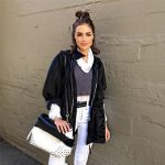 Tod's Black and White Wave Tote as seen on Olivia Culpo Instagram.