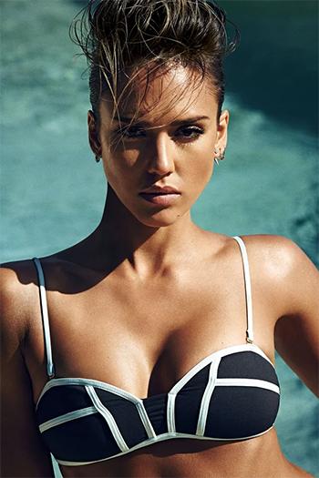 Jessica Alba wears a L*Space Swimwear By Monica Wise Bombshell Two-Tone Bikini Top for Shape Magazine, June 2015.
