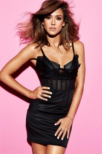 Oscar de la Renta Mesh-Insert Bustier Dress as seen on Jessica Alba x Cosmopolitan Magazine, March 2016.