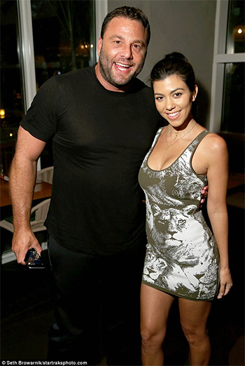 Kourtney Kardashian wears a Roberto Cavalli Stretch-Jacquard Mini Dress and Yeezy Season 2 heels to a private party at Komodo in Miami, Florida on July 1, 2016.