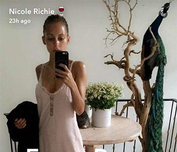 Seen on Snapchat: Nicole Richie in a House Of Harlow 1960 x Revolve Emma Lace Hem Slip Dress