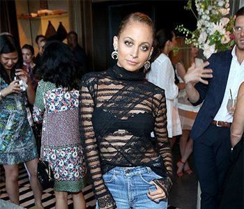Nicole Richie wears House of Harlow 1960 Gift of Iah Dangle Earrings and Manolo Blahnik Khan Leather Double-Band Sandals as she hosts Amazon's Style Code Live in Los Angeles, CA on July 14, 2016.