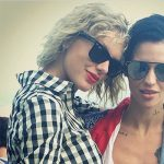 Taylor Swift wears Ray-Ban sunglasses and a Solid & Striped The Woven Crop Top next to Ruby Rose on Instagram.