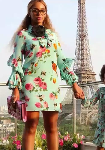 Beyonce Instafashion - Gucci Rose Print Silk Ruffle Dress