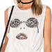 Lauren Moshi Star Face Kinzington Vintage Crop Muscle Tank