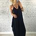 Style Heist Navy Blue Boho Drape Aria Dress