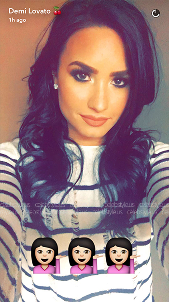 T By Alexander Wang Distressed Striped Boxy Sweater as seen on Demi Lovato Snapchat, August 2016.