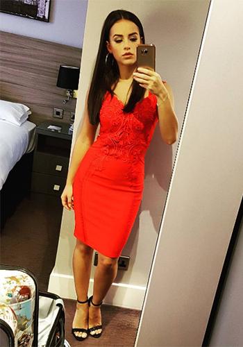 c8a1d7fab93 Instafashion - Georgia May Foote in Lipsy Love Michelle Keegan Applique  Front Bodycon Dress