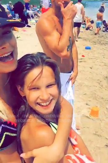 Hailey Baldwin Snapchat: Same Swim The Catch Noir Papillon Bikini Top, July 2016