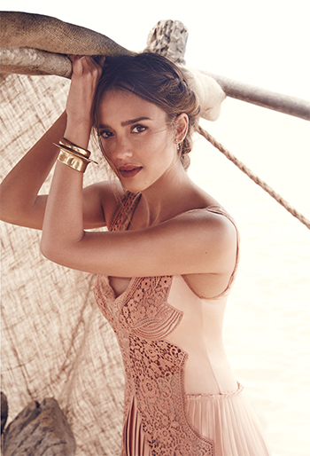 Stella McCartney Pleated Lace-trimmed Peach Gown as seen on Jessica Alba in Allure magazine 2016.